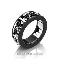 Mens Modern 14K Black and White Gold Black Diamond Skull Channel Cluster Wedding Ring R453-14KBWGBD
