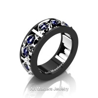 Mens Modern 14K Black and White Gold Blue Sapphire Skull Channel Cluster Wedding Ring R453-14KBWGBS