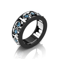 Mens Modern 14K Black and White Gold Blue Topaz Skull Channel Cluster Wedding Ring R453-14KBWGBT