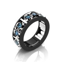 Mens Modern 14K Black and White Gold Blue Topaz Skull Channel Cluster Wedding Ring R453-14KBWGBT