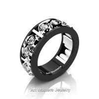 Mens Modern 14K Black and White Gold Diamond Skull Channel Cluster Wedding Ring R453-14KBWGD