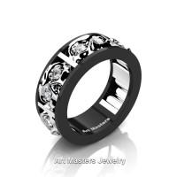 Mens Modern 14K Black and White Gold Diamond Skull Channel Cluster Wedding Ring R453-14KBWGD