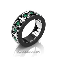 Mens Modern 14K Black and White Gold Emerald Skull Channel Cluster Wedding Ring R453-14KBWGEM