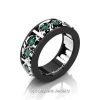 Mens Modern 14K Black and White Gold Emerald Skull Channel Cluster Wedding Ring R453-14KBWGEM