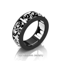 Mens Modern 14K Black and White Gold Skull Channel Cluster Wedding Ring R455-14KBWG