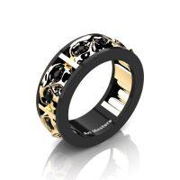 Mens Modern 14K Black and Yellow Gold Black Diamond Skull Channel Cluster Wedding Ring R453-14KBYGBD