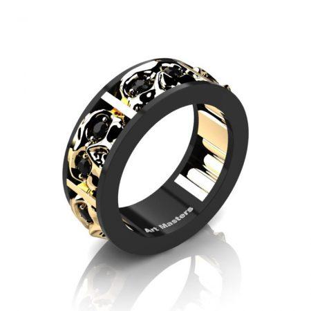 Mens-Modern-14K-Black-and-Yellow-Gold-Black-Diamond-Skull-Channel-Cluster-Wedding-Ring-R453-14KBYGBD