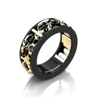 Mens Modern 14K Black and Yellow Gold Black Diamond Skull Channel Cluster Wedding Ring R453-14KBYGBD