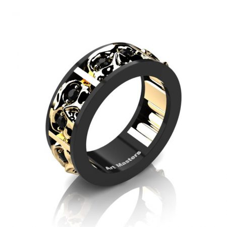 Mens-Modern-14K-Black-and-Yellow-Gold-Black-Diamond-Skull-Channel-Cluster-Wedding-Ring-R453-14KBYGBD-P