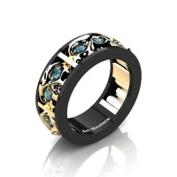 Mens Modern 14K Black and Yellow Gold Blue Topaz Skull Channel Cluster Wedding Ring R453-14KBYGBT