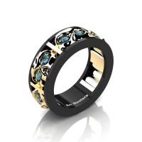 Mens Modern 14K Black and Yellow Gold Blue Topaz Skull Channel Cluster Wedding Ring R453-14KBYGBT
