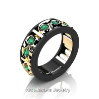Mens Modern 14K Black and Yellow Gold Emerald Skull Channel Cluster Wedding Ring R453-14KBYGEM