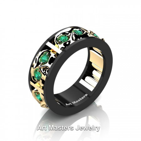 Mens-Modern-14K-Black-and-Yellow-Gold-Emerald-Skull-Channel-Cluster-Wedding-Ring-R453-14KBYGEM-P
