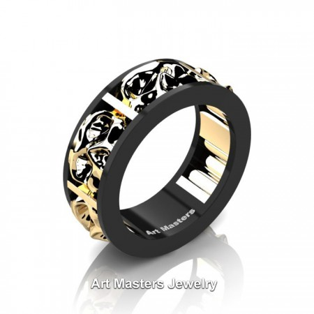 Mens-Modern-14K-Black-and-Yellow-Gold-Skull-Cluster-Wedding-Ring-R455-14KBYG-P