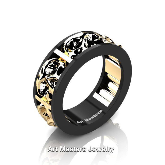 Mens Modern 14k Black And Yellow Gold Skull Channel
