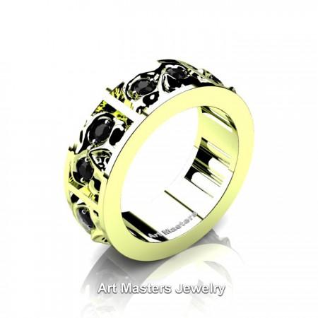 Mens-Modern-14K-Green-Gold-Black-Diamond-Skull-Cluster-Wedding-Ring-R453-14KGGBD-P