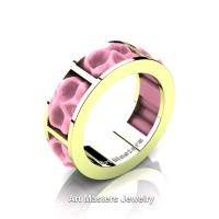 Womens Avant Garde 14K Green Gold Pink Ceramic Skull Channel Cluster Wedding Ring R455-14KGGPC