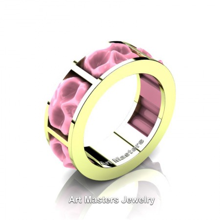 Mens-Modern-14K-Green-Gold-Pink-Ceramic-Skull-Channel-Cluster-Wedding-Ring-R455-14KGGPC-P
