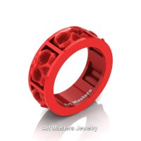 Mens Avant Garde 14K Red Gold Ceramic Skull Channel Cluster Wedding Ring R455-14KREGC