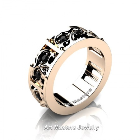 Mens-Modern-14K-Rose-Gold-Black-Diamond-Skull-Cluster-Wedding-Ring-R453-14KRGBD-P