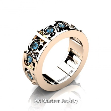 Mens-Modern-14K-Rose-Gold-Blue-Topaz-Skull-Cluster-Wedding-Ring-Ring-R453-14KRGBT-P
