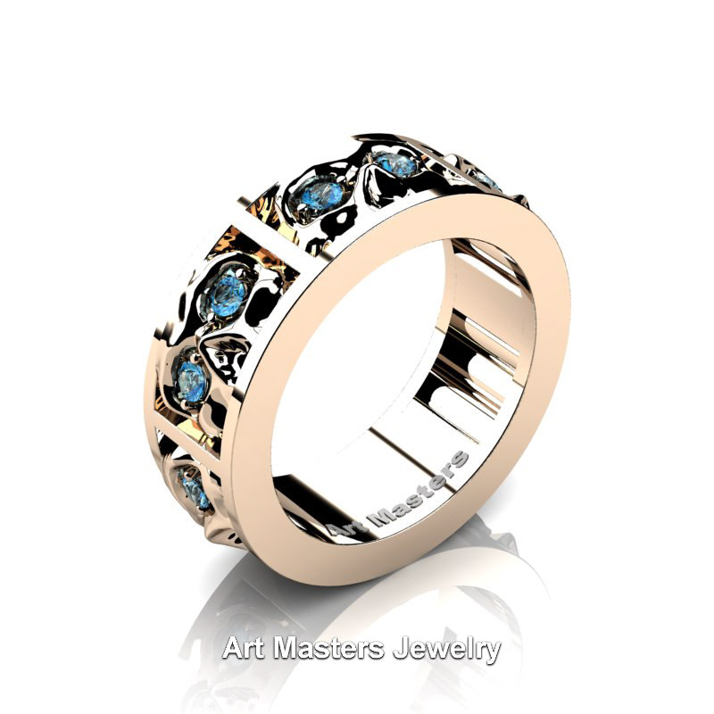 Mens Modern 14K Rose Gold Blue Topaz Skull Channel Cluster Wedding Ring R453 14KRGBT