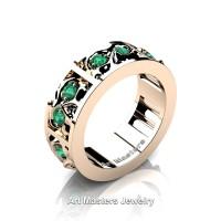 Mens Modern 14K Rose Gold Emerald Skull Channel Cluster Wedding Ring R453-14KRGEM