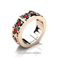 Mens Modern 14K Rose Gold Ruby Skull Channel Cluster Wedding Ring R453-14KRGR