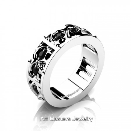 Mens-Modern-14K-White-Gold-Black-Diamond-Skull-Cluster-Wedding-Ring-R453-14KWGBD-P