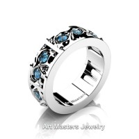 Mens Modern 14K White Gold Blue Topaz Skull Channel Cluster Wedding Ring R453-14KWGBT