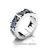 Mens Modern 14K White Gold Blue Topaz Skull Channel Cluster Wedding Ring R453-14KWGBT