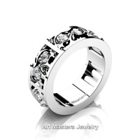 Mens Modern 14K White Gold Diamond Skull Channel Cluster Wedding Ring R453-14KWGD