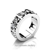 Mens Modern 14K White Gold Diamond Skull Channel Cluster Wedding Ring R453-14KWGD