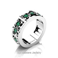 Mens Modern 14K White Gold Emerald Skull Channel Cluster Wedding Ring R453-14KWGEM