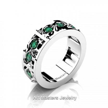Mens-Modern-14K-White-Gold-Emerald-Skull-Cluster-Wedding-Ring-R453-14KWGEM-P