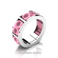 Womens Avant Garde 14K White Gold Pink Ceramic Skull Channel Cluster Wedding Ring R455-14KWGPC