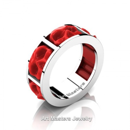 Mens-Modern-14K-White-Gold-Red-Ceramic-Skull-Channel-Cluster-Wedding-Ring-R455-14KWGRC-P