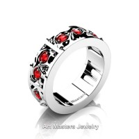 Mens Modern 14K White Gold Ruby Skull Channel Cluster Wedding Ring R453-14KWGR