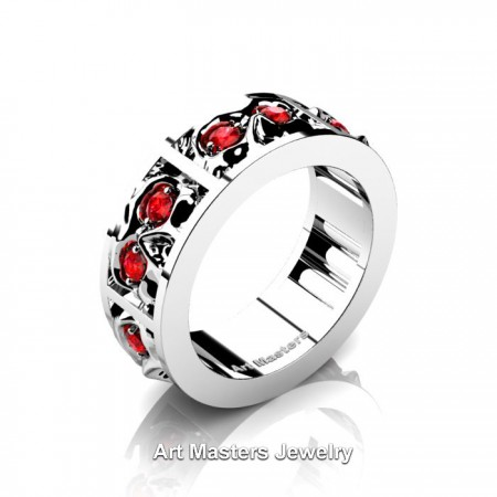 Mens-Modern-14K-White-Gold-Ruby-Skull-Cluster-Wedding-Ring-R453-14KWGR-P