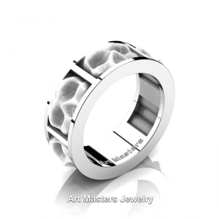 Mens-Modern-14K-White-Gold-White-Ceramic-Skull-Cluster-Wedding-Ring-R455-14KWGWC-P