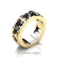 Mens Modern 14K Yellow Gold Black Diamond Skull Channel Cluster Wedding Ring R453-14KYGBD