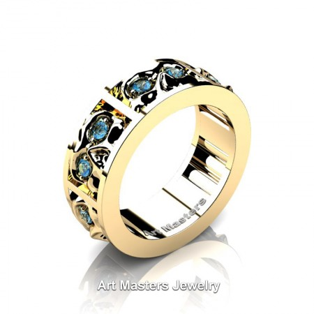 Mens-Modern-14K-Yellow-Gold-Blue-Topaz-Skull-Channel-Cluster-Wedding-Ring-Ring-R453-14KYGBT-P