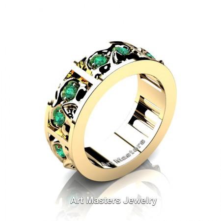 Mens-Modern-14K-Yellow-Gold-Emerald-Skull-Channel-Cluster-Wedding-Ring-R453-14KYGEM-P