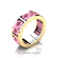 Womens Avant Garde 14K Yellow Gold Pink Ceramic Skull Channel Cluster Wedding Ring R455-14KYGPC