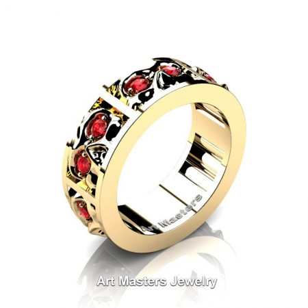 Mens-Modern-14K-Yellow-Gold-Ruby-Skull-Channel-Cluster-Wedding-Ring-R453-14KYGR-P