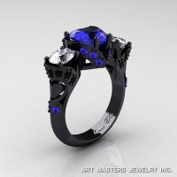 Scandinavian 14K Black Gold 2.0 Ct Heart Blue and White Sapphire Black Diamond Three Stone Designer Engagement Ring R434M-14KBGBDWSBS
