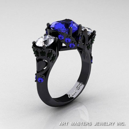 Modern-Art-Deco-14K-Black-Gold-2-Ct-Heart-Three-Stone-Blue-White-Sapphire-Black-Diamond-Designer-Ring-R434-BGBDWSBS-P