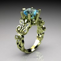 Nature Inspired 14K Green Gold 3.0 Ct Blue Topaz Diamond Leaf and Vine Crown Solitaire Ring RNY101-14KGGDBT