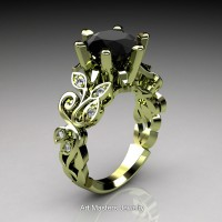 Nature Inspired 14K Green Gold 3.0 Ct Black and White Diamond Leaf and Vine Crown Solitaire Ring RNY101-14KGGDBD