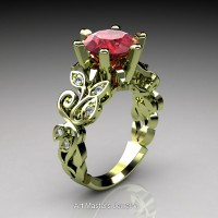 Nature Inspired 14K Green Gold 3.0 Ct Ruby Diamond Leaf and Vine Crown Solitaire Ring RNY101-14KGGDR